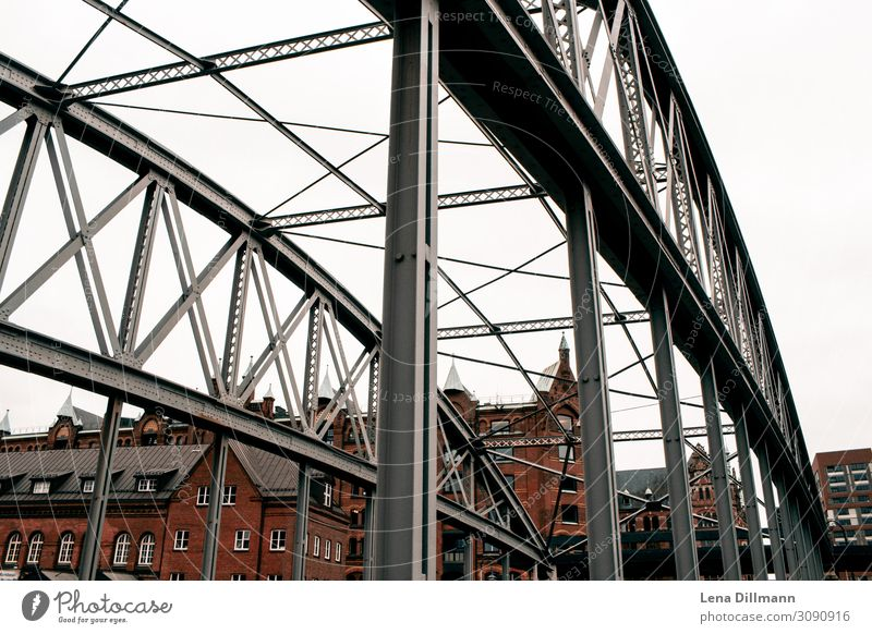 Hamburg houses Town Cities House (Residential Structure) Clouds rainy bridge Germany Northern Germany Landscape format pile-lander brunette