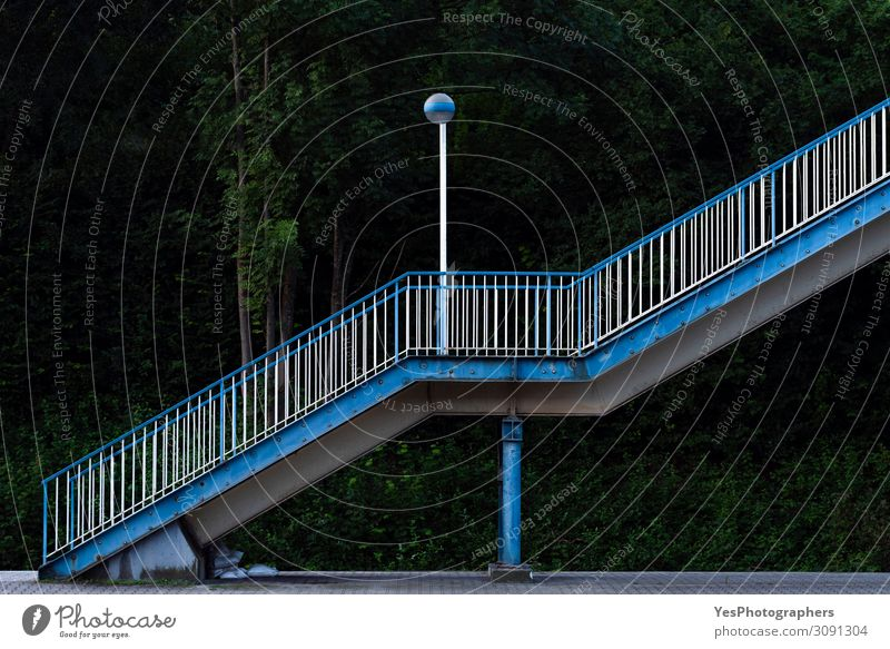 Train station stairs. Outdoor stairways side view. Vacation & Travel Climbing Mountaineering Building Architecture Stairs Transport Railroad Old Blue