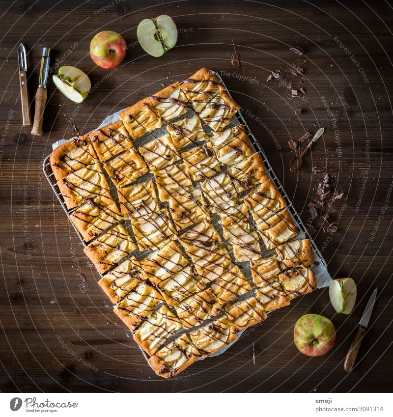 Apple baking cake Cake Dessert Candy Nutrition Slow food Delicious Sweet sheet cake Calorie Baked goods Colour photo Multicoloured Interior shot Studio shot