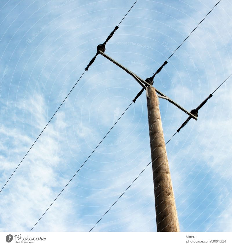 Cervical Spine Training (XV) Technology Energy industry Electricity pylon Transmission lines Overhead line Diagonal Sky Clouds Beautiful weather Wood Metal Line