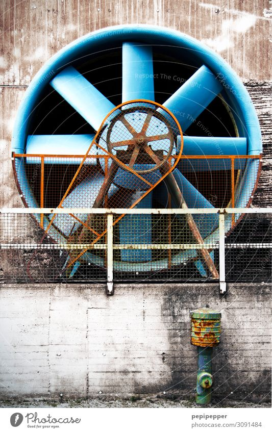 blue fan Tourism Trip Factory Machinery Technology Duisburg Industrial plant Ruin Architecture Steel Sphere Line Old Blue Tradition Fan Rotor Ventilation Day