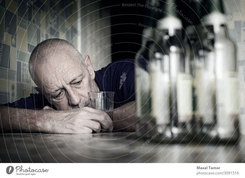 Desperate man falling into depression and becoming alcoholic Beverage Drinking Alcoholic drinks Beer Bottle Lifestyle Table Man Adults Sit Sadness Poverty Grief