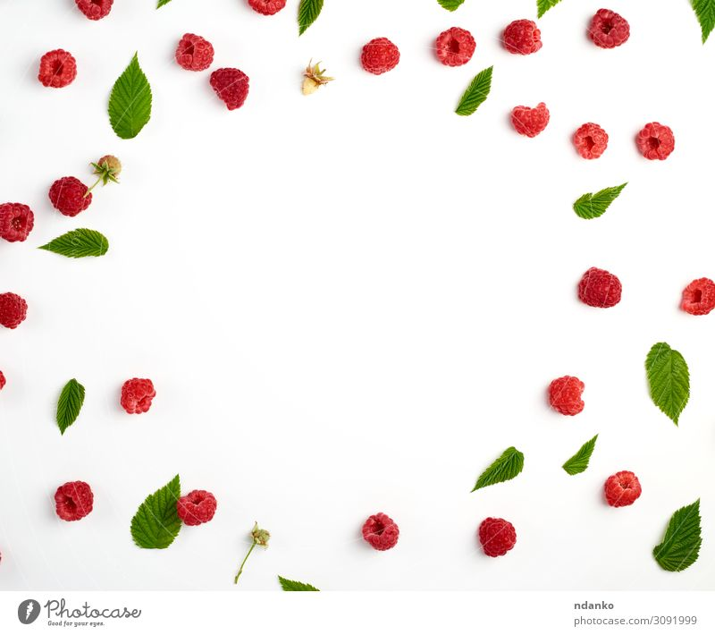 red ripe raspberries and green leaves scattered Fruit Dessert Nutrition Vegetarian diet Diet Juice Summer Group Nature Plant Leaf Fresh Delicious Natural Juicy