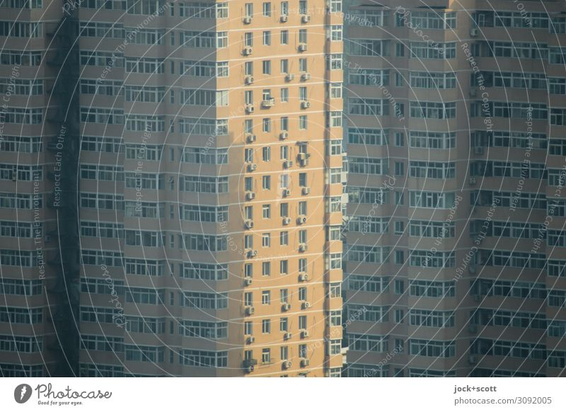 via Beijing Downtown Tower block built Town house (City: Block of flats) Facade Window Sharp-edged great Modern Gloomy Many Moody Protection Complex Arrangement