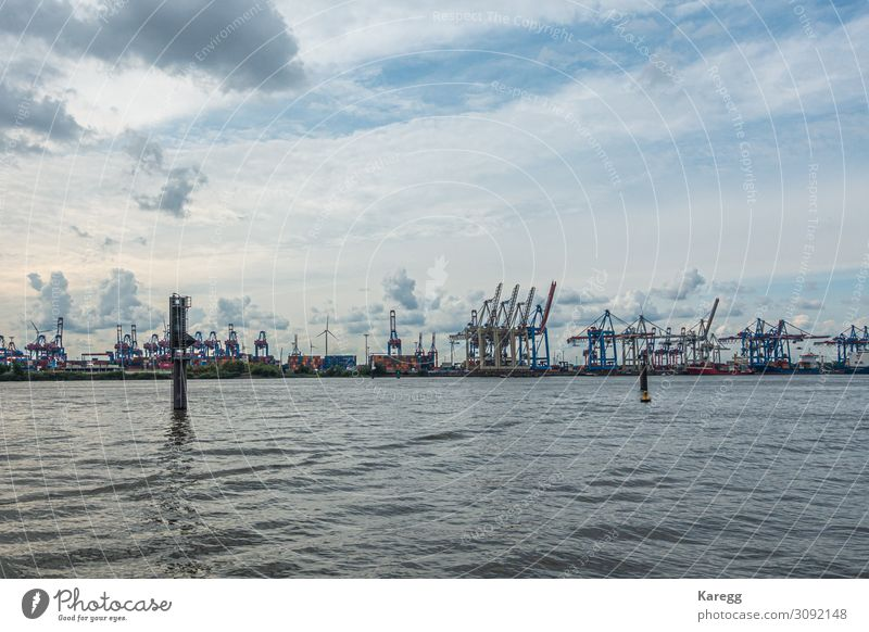 a panoramic view of the port of Hamburg in cloudy weather Vacation & Travel Sightseeing Summer Museum Port City Skyline Landmark Navigation Inland navigation