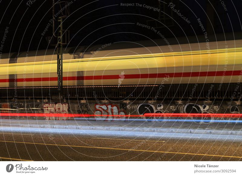 Train at night Town Downtown Transport Means of transport Traffic infrastructure Passenger traffic Public transit Logistics Train travel Passenger train Driving