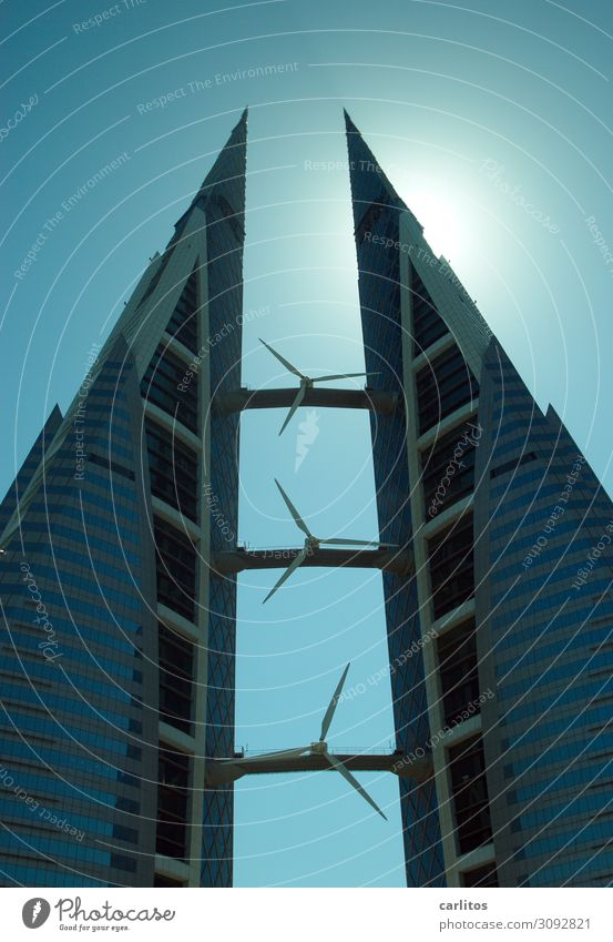 Bahrain World Trade Center Manama High-rise two towers Wind energy plant Rotor Energy Energy industry Free Symmetry Architecture Back-light construction boom