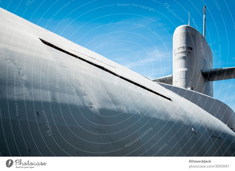 a submarine in front of a blue sky Deserted Blue sky Cloudless sky Navigation Vehicle Watercraft Submarine nuclear submarine Atoms Dive Ocean submersible Gray
