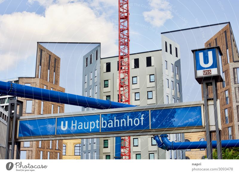 Blue Town Architecture Wall (building) Berlin Germany Tourism Wall (barrier) Facade Modern Construction site Logistics Many Capital city Downtown Chaos