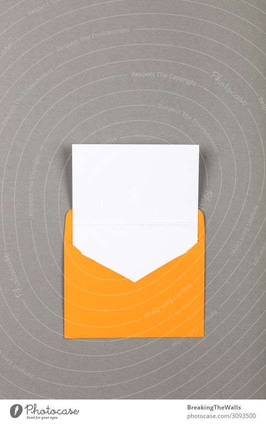 Open yellow paper envelope over grey Office work Workplace Mail Business To talk Stationery Paper Modern Above Yellow Gray White Colour Creativity sheet