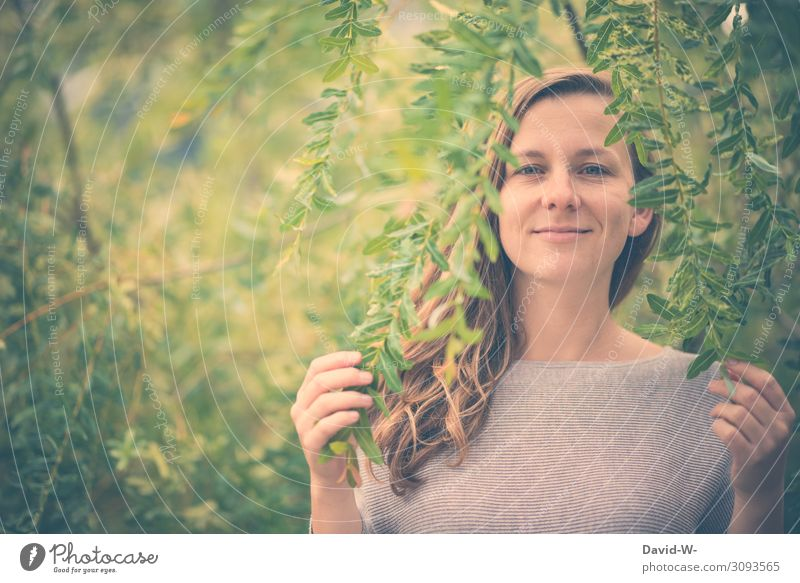 Woman Human being Nature Youth (Young adults) Young woman Summer Plant Beautiful Tree Leaf Forest Face Adults Life Environment Spring