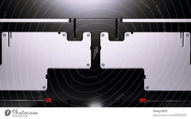 Tech Background - 3D Render Computer Notebook Hardware Technology Advancement Future High-tech Industry Gray Red Black Design Symmetry Science Fiction