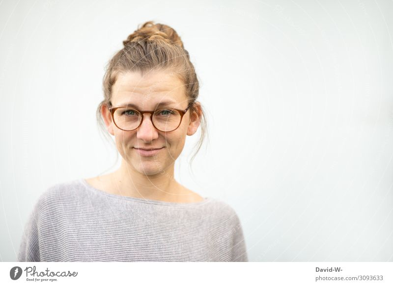 Woman with glasses Young woman smiled smilingly Blonde natural kind Copy Space top Gray Emanation already Looking into the camera Adults portrait Human being