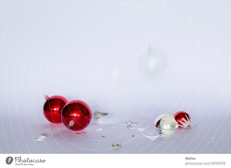 Broken red and silver Christmas tree balls Winter Christmas & Advent Sphere To fall Red Silver White Disaster Threat Risk Tradition Destruction Arranged