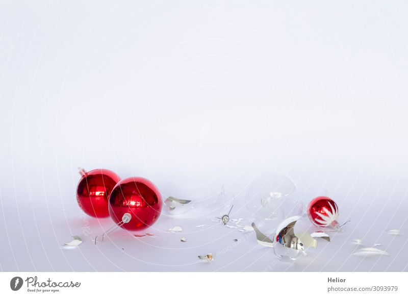 Broken red and silver Christmas tree balls Winter Christmas & Advent Sphere Lie Red Silver White Chaos Disaster Tradition Destruction Arranged