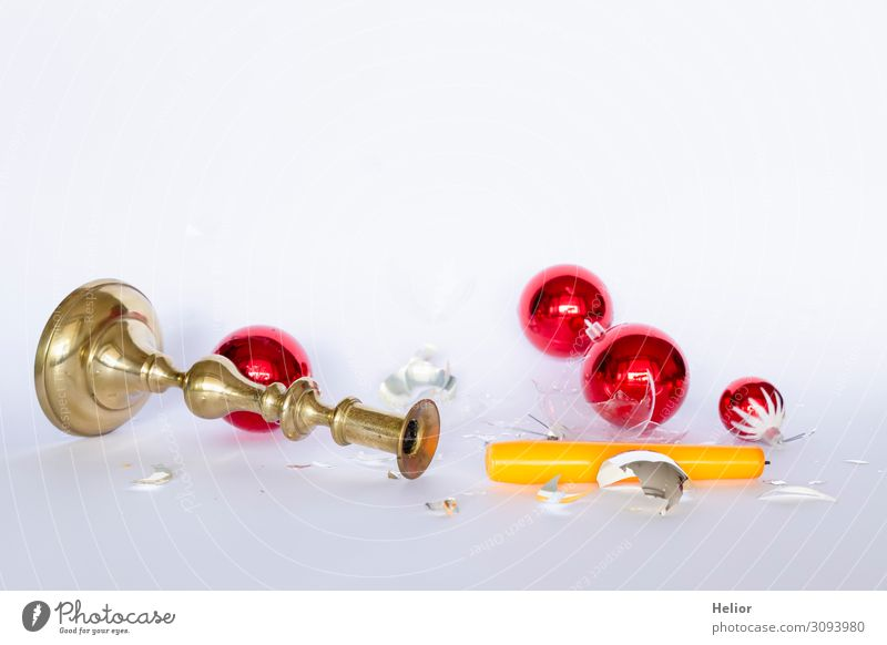 Falling and broken Christmas tree balls with candlestick Winter Christmas & Advent Sphere To fall Lie Retro Yellow Sadness Chaos Disaster Religion and faith