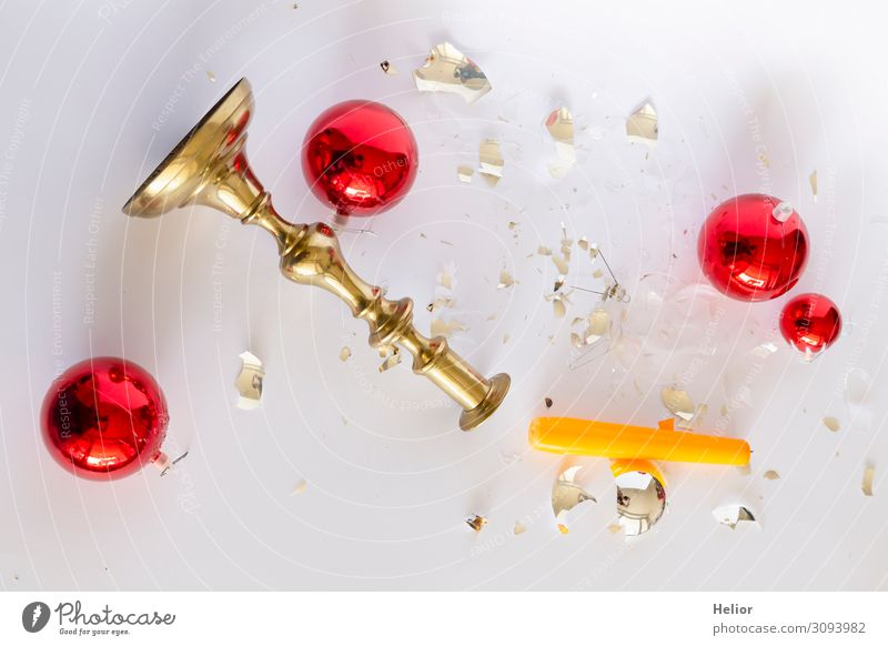 Christmas & Advent White Red Winter Background picture Religion and faith Yellow Sadness Retro Gold Glittering Lie Glass Transience Broken Candle