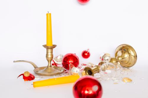 Broken Christmas tree balls with candlesticks Winter Christmas & Advent Sphere To fall Lie Stand Retro Yellow Gold Red Silver White Sadness Disaster