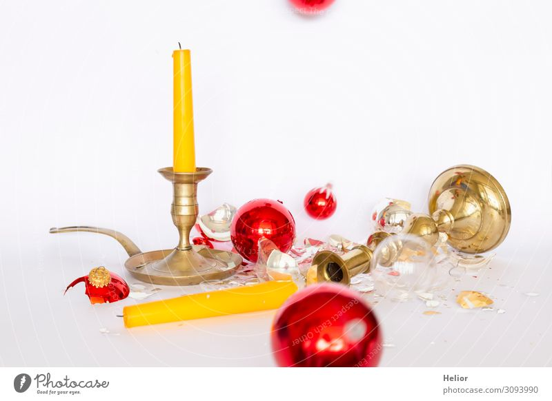Christmas & Advent White Red Winter Background picture Religion and faith Yellow Sadness Retro Gold Lie Stand Transience Broken Candle Tradition