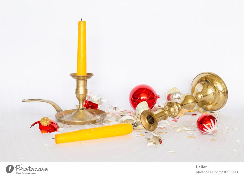 Broken Christmas tree balls with candlesticks Winter Christmas & Advent Sphere Lie Stand Retro Yellow Gold Red Silver White Sadness Disaster Religion and faith