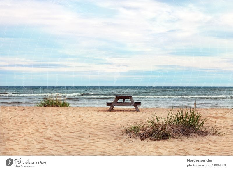 Baltic Sea in the north of Sweden Vacation & Travel Tourism Camping Summer vacation Beach Ocean Waves Nature Landscape Sand Water Sky Clouds Beautiful weather
