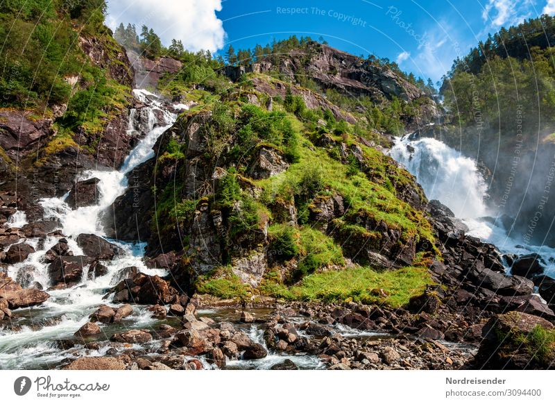 Twin waterfall Låtefossen Vacation & Travel Tourism Trip Far-off places Summer Nature Landscape Elements Water Sky Clouds Spring Beautiful weather Tree Grass