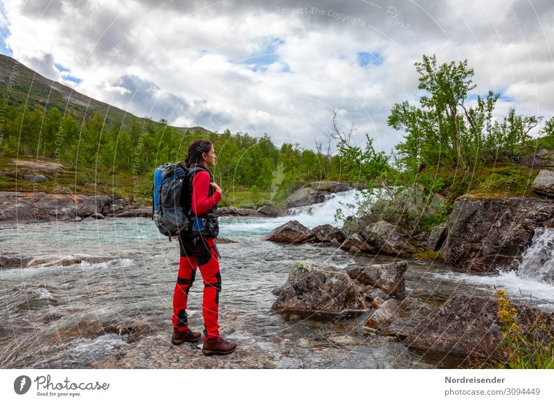 wanderlust Lifestyle Vacation & Travel Tourism Adventure Freedom Camping Hiking Human being Feminine Woman Adults Nature Landscape Water Mountain River bank