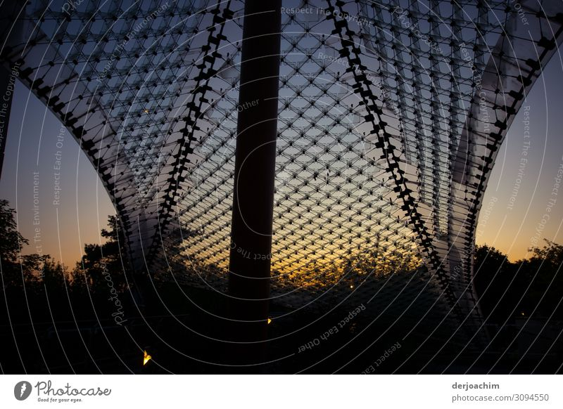 Twilight sets in on the campus in Bad Neustadt an der Saale. A big net with a pillar and bushes in the background. Elegant Design Environment Nature Sunrise