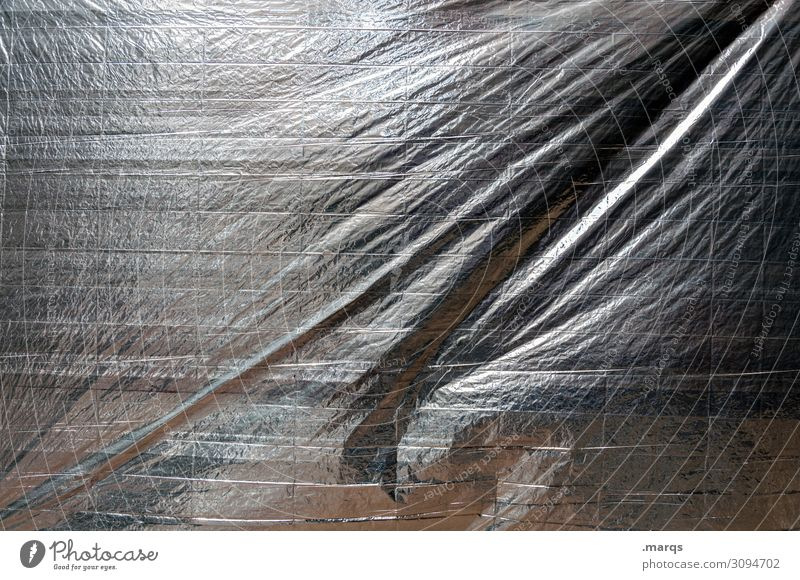 Packed Packing film Covers (Construction) Protection Gray Black White Surrealism Background picture Silver Colour photo Exterior shot Close-up Abstract