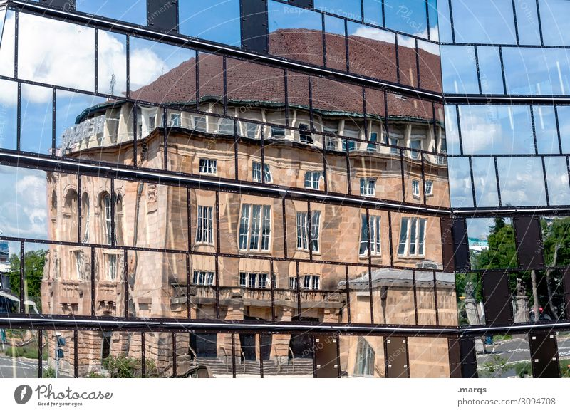 city theater Academic studies Freiburg im Breisgau Building Architecture Library Theatre Glass Old New Town Perspective Colour photo Exterior shot Abstract