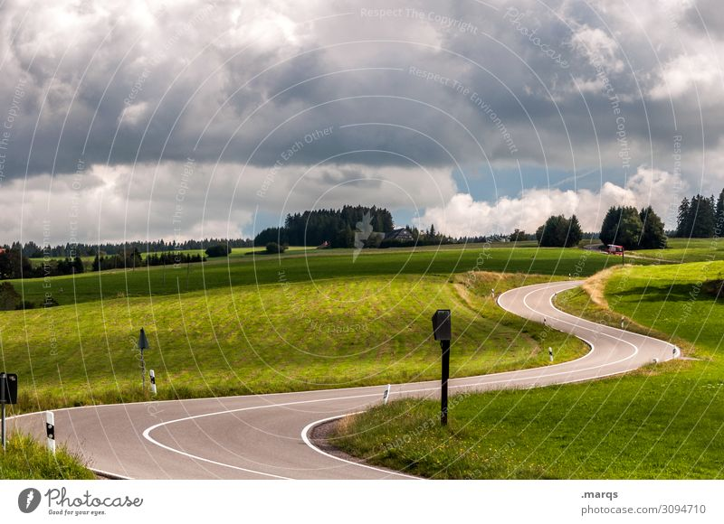 S Trip Landscape Sky Clouds Summer Tree Meadow Hill Transport Traffic infrastructure Street Curve Driving Mobility Target Colour photo Exterior shot Deserted