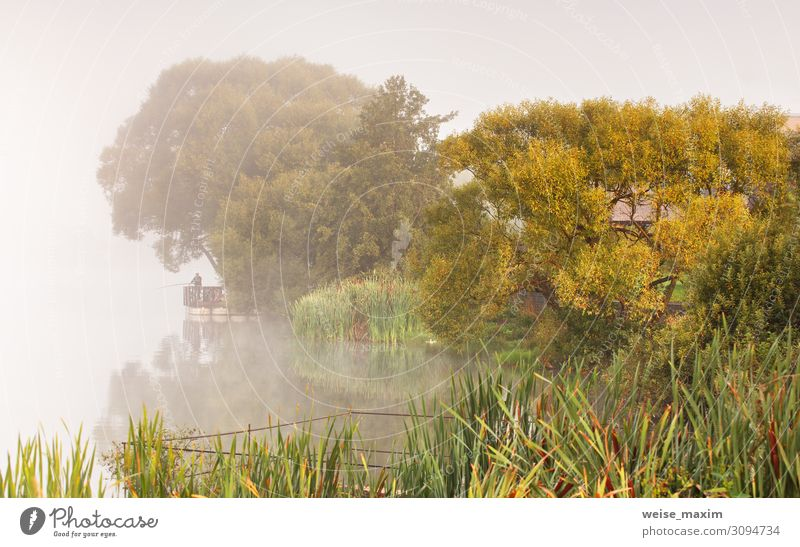Fishing on foggy lake. Fisherman with rods Lifestyle Relaxation Leisure and hobbies Fishing (Angle) Vacation & Travel Adventure Far-off places Freedom Summer