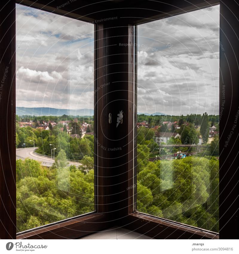 Karlsruhe Environment Nature Landscape Sky Clouds Summer Tree Forest Window Window frame Living or residing Symmetry Colour photo Interior shot Deserted Day
