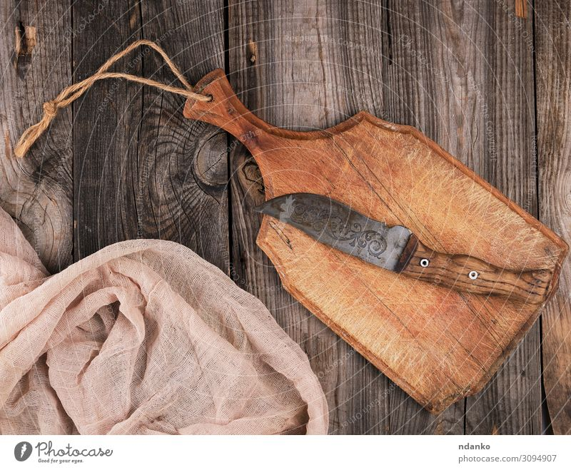 empty old brown wooden cutting board Old Dark Wood Natural Brown Gray Above Design Retro Dirty Table Kitchen Cloth Knives Rustic Surface
