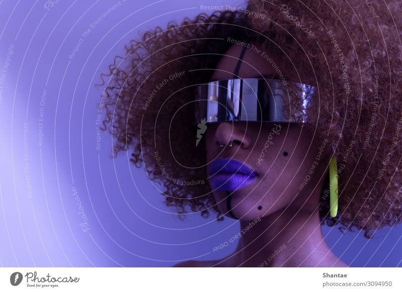 La Fille Futuriste Style Make-up Lipstick Party Headset Virtual Reality Technology Advancement Future High-tech Artificial intelligence Feminine Woman Adults