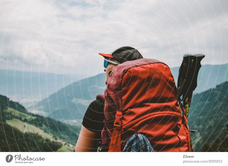 Hiker on the Merano High Trail Leisure and hobbies Vacation & Travel Adventure Mountain Hiking Feminine Young woman Youth (Young adults) 18 - 30 years Adults