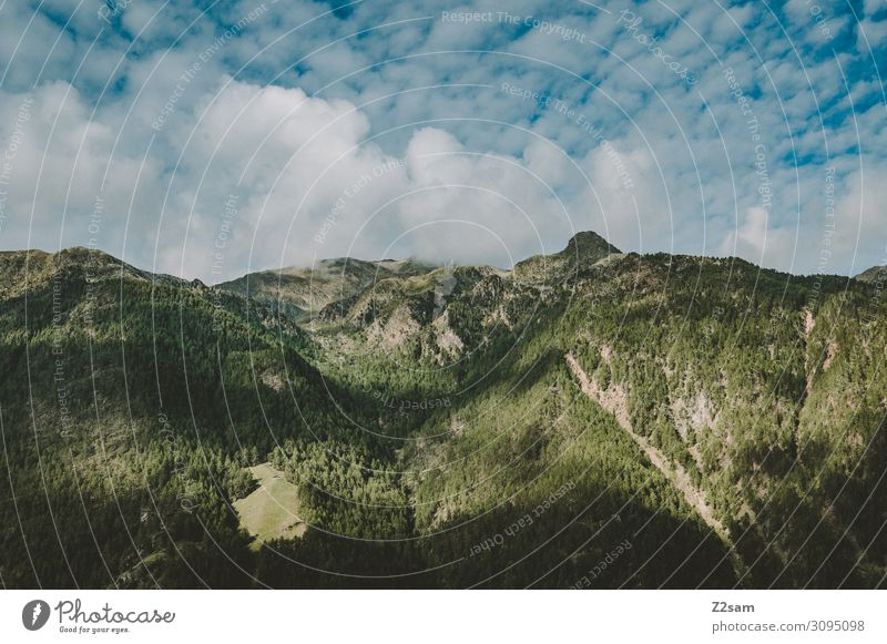 South Tyrolean Mountains Nature Landscape Sky Clouds Forest Alps Peak Threat Dark Gigantic Tall Sustainability Natural Blue Green Idyll Crisis Perspective
