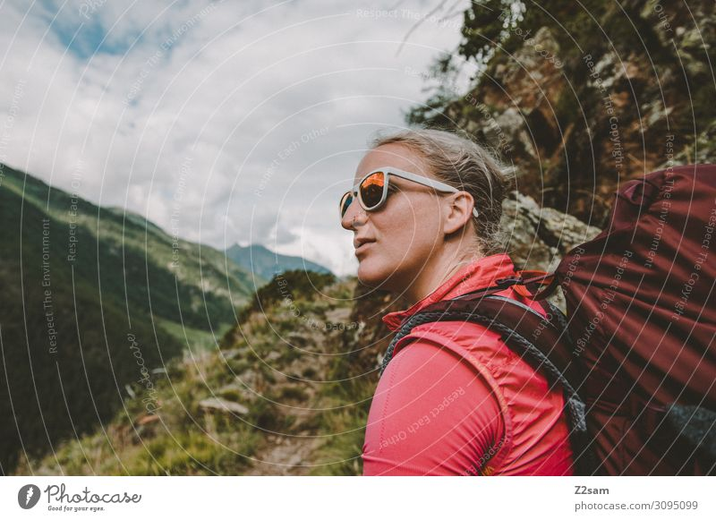 Vacation & Travel Nature Youth (Young adults) Young woman Summer Beautiful Landscape Clouds Calm Mountain Adults Natural Happy Pink Leisure and hobbies Hiking