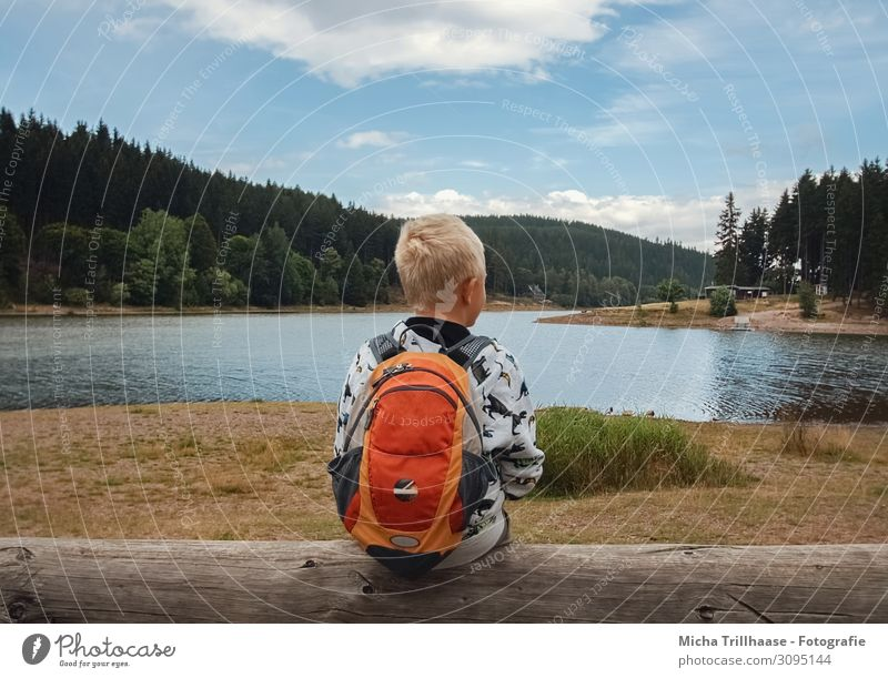Child at the lake Vacation & Travel Adventure Hiking Human being Masculine Boy (child) Infancy Head Hair and hairstyles Back 1 3 - 8 years Nature Landscape