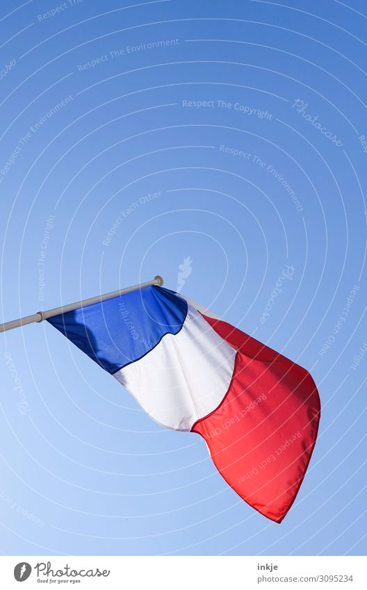 France Flag Cloudless sky Beautiful weather Blue Red White Politics and state Blow Clean Colour photo Exterior shot Close-up Deserted Copy Space top