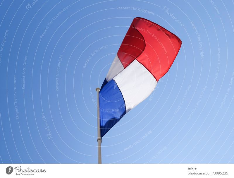 France Flag Cloudless sky Beautiful weather Ensign Blue Red White Politics and state Blow Clean Colour photo Multicoloured Exterior shot Deserted