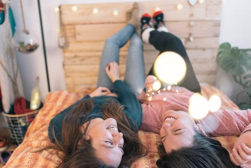 Bestfriend happy in the bed with light christmas Human being Feminine Homosexual Young man Youth (Young adults) Woman Adults 18 - 30 years 30 - 45 years
