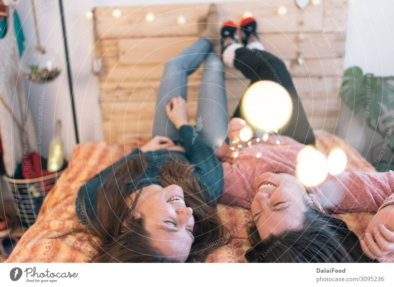 Bestfriend happy in the bed with light christmas Woman Human being Youth (Young adults) Young man Eroticism Joy Anti-Christmas Healthy 18 - 30 years Adults