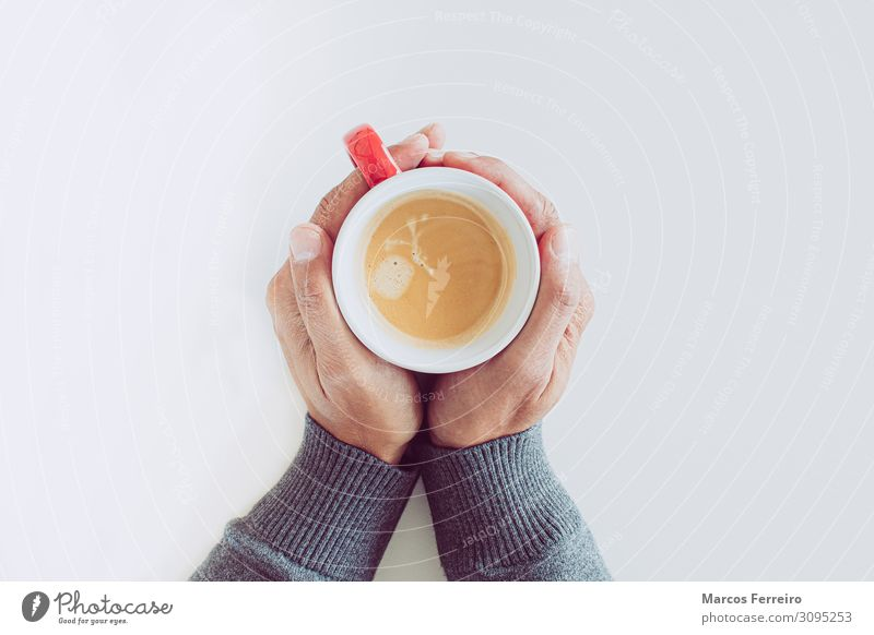 red coffee cup in hands Breakfast Beverage Hot drink Coffee Beautiful Relaxation Table Human being Young man Youth (Young adults) Man Adults Hand Fingers 1