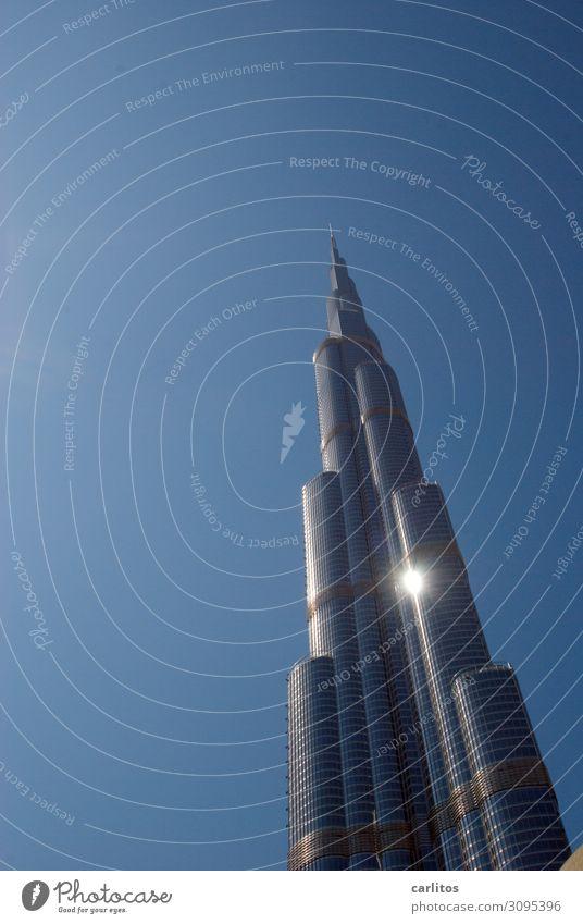 Burj Khalifa with sun Dubai United Arab Emirates Capital city City High-rise Economic growth Construction boom
