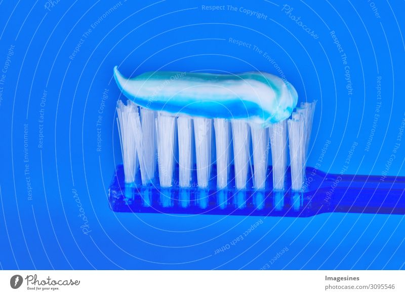 Toothbrush and toothpaste on blue background. Dental concept. Care Health, Hygiene pretty Personal hygiene Bad breath Dental care Plastic Healthy Pure Blue