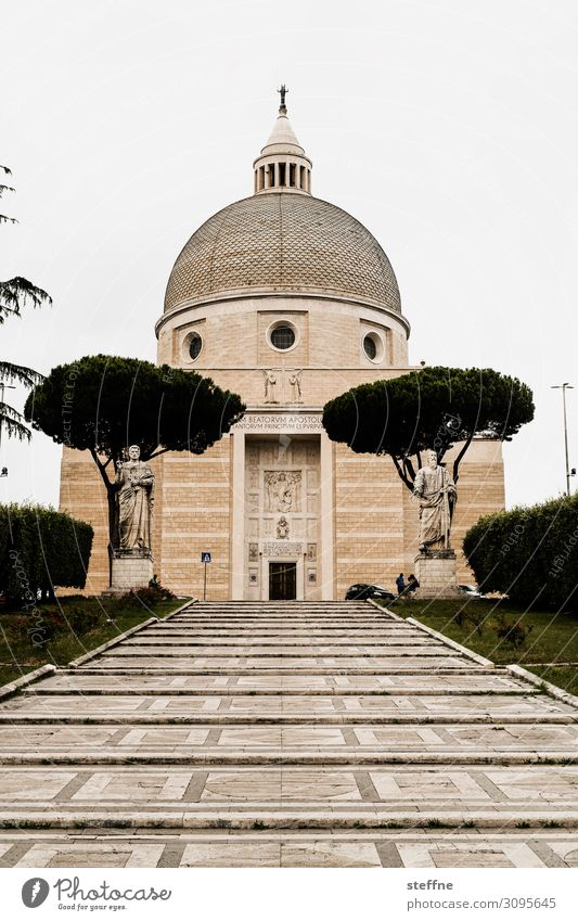 Basilica of Santi Pietro and Paolo Church Religion and faith Modern architecture Rome Italy Catholicism Statue World exposition Geometry Harmonious Colour photo