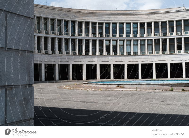 semicircle Building Architecture Facade Town Colosseum Office building Rome Italy Historic Modern architecture World exposition EUR Drop shadow Contrast