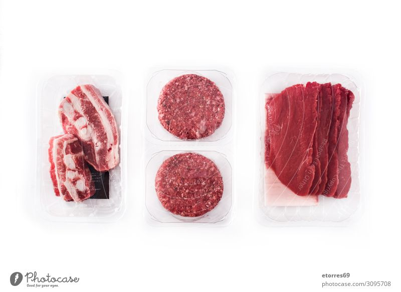 Different types of meat packaged in plastic isolated Meat Packaged Plastic Tray Exceptional Food Healthy Eating Food photograph Isolated (Position) Box Fresh