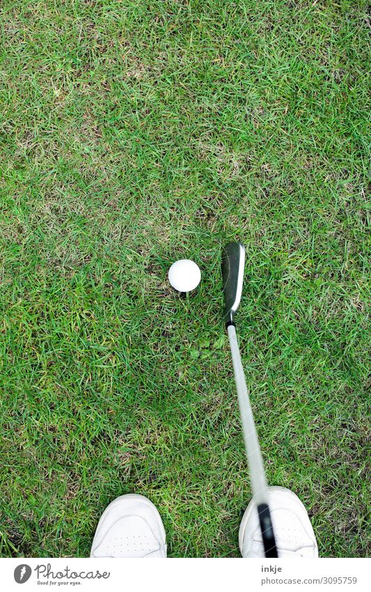 golf Lifestyle Luxury Leisure and hobbies Playing Sports Golf Golf ball Golf club Golf course Feet Meadow Stand Green White Concentrate Colour photo
